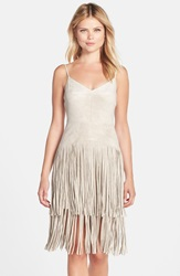 Bcbgmaxazria Fringe Faux Suede Slipdress Light Stone
