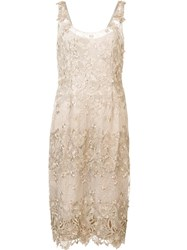 Marchesa Notte Floral Applique Midi Dress Nude Neutrals