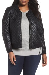 Sejour Plus Size Women's Quilted Faux Leather Bomber Jacket