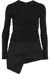 Donna Karan Stretch Jersey And Wool Blend Crepe Peplum Top