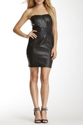 Sky Reptile Genuine Leather Strapless Dress Black