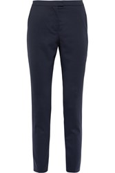 Iris And Ink Bernadette Stretch Wool Twill Slim Leg Pants Blue