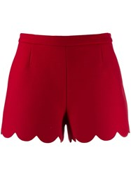 Red Valentino Scalloped Hem Shorts Red
