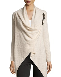 Neiman Marcus Cashmere Check Knit Toggle Cardigan Oatmeal