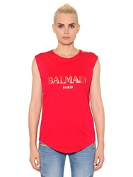 Balmain Printed Cotton Jersey T Shirt