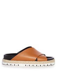 Marni Cross Strap Leather Slides Tan