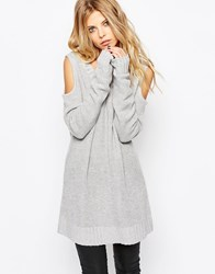 Religion Perilous Ribbed Jumper With Cut Out Shoulders Grey Marl