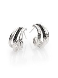 John Hardy Bamboo Black Sapphire And Sterling Silver Bamboo Lava Triple Hoop Earrings 1 Silver Black
