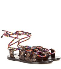 Valentino Santeria Leather Sandals Brown
