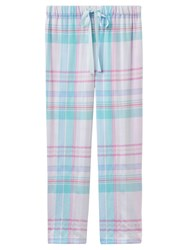Joules Fleur Checked Pyjama Bottoms Aqua Pink