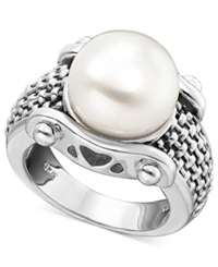 Honora Style White Freshwater Pearl Braid Band Ring In Sterling Silver 11Mm