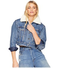 Levi's Premium R Cropped Sherpa Trucker Fight Or Flight Coat Blue
