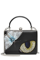 Alexander Mcqueen Leather Box Clutch With Patches Black