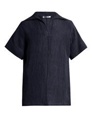 Hecho Ribbed Silk And Linen Blend Tunic Top Navy