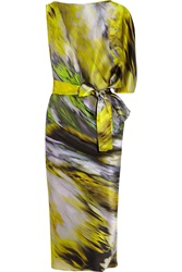 Maria Grachvogel Icon Printed Silk Satin Dress Yellow