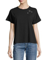 Rag And Bone Star Embroidered Boxy Crewneck Tee Black