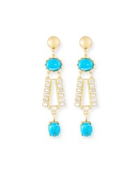 Sequin Turquoise And Crystal Dangle Earrings