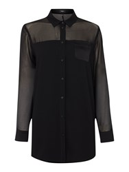 Marella Spira Longsleeve Sheer Panel Shirt Black