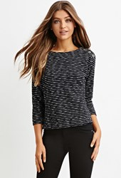 Forever 21 French Terry Stripe Top Black Cream
