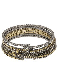 Abs By Allen Schwartz Rhinestone Accented Bangle Set Gold