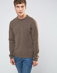 Asos Lambswool Rich Crew Neck Jumper In Light Brown Light Brown