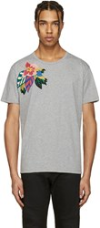 Valentino Grey Flower And Butterfly T Shirt