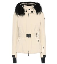 Moncler Bauges Fur Trimmed Ski Jacket Beige