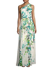David Meister One Shoulder Printed Gown Ivory Green