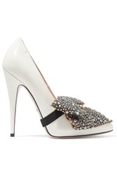 Gucci Bow Embellished Patent Leather Pumps White