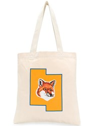 Maison Kitsune Fox Shopper Bag Nude And Neutrals