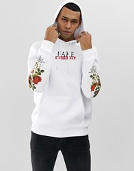 Your Turn Yourturn Hoodie In White With Rose Print Sleeves