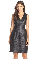 Women's Bcbgmaxazria Perforated Faux Leather Fit And Flare Dress