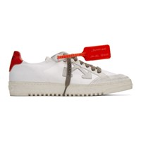 Off White And Red Low 2.0 Sneakers