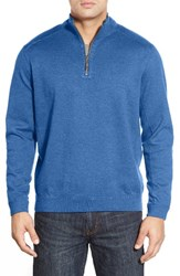Tommy Bahama Men's Flip Side Reversible Quarter Zip Twill Pullover Campanula Heather