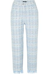 Balmain Cropped Metallic Tweed Straight Leg Pants Blue