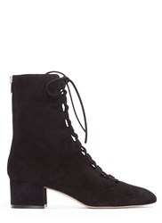 Gianvito Rossi Delia Lace Up Block Heeled Ankle Boots Black
