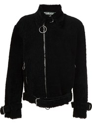 Off White Shearling Biker Jacket Black