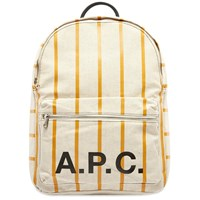 A.P.C. Pinstripe Logo Backpack White
