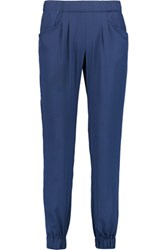 W118 By Walter Baker Hanna Satin Crepe Slim Leg Pants Royal Blue