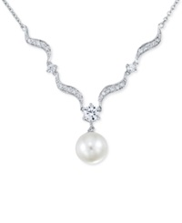 No Vendor Cultured Freshwater Pearl And Crystal Necklace In Sterling Silver 10Mm