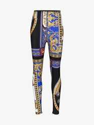 Versace The Lovers High Waisted Print Skinny Leggings Multicolour