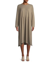 Eskandar Crewneck Long Sleeve A Line Cashmere Dress Tan