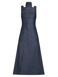 Emilia Wickstead Mary High Neck Denim Dress