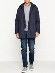 Aquascutum London Clifton Sb Coat With Detachable Hood Navy