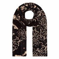 Klements Long Velvet Scarf In Teargarden Print Black