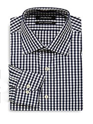 Saks Fifth Avenue Black Check Slim Fit Button Down Dress Shirt Navy