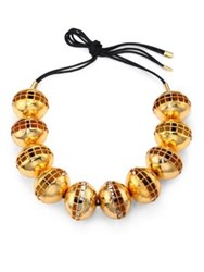 Josie Natori Beaded Brass Cutout Necklace Gold