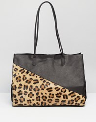 Asos Leather And Faux Pony Shopper Bag Multi