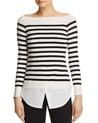 Aqua Boat Neck Layered Look Sweater Ivory Black