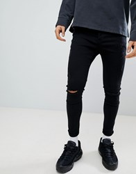 Kings Will Dream Muscle Fit Jeans With Distressing In Black